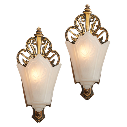 Pair Of Slipper Shade Sconces W/ Original Finish