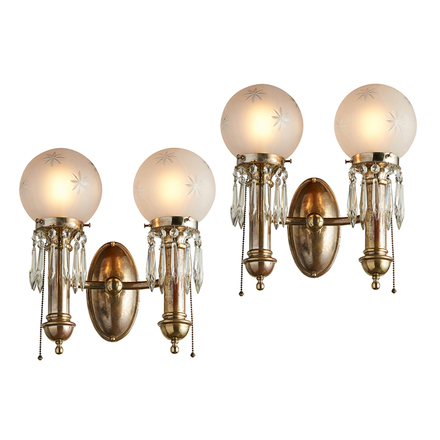 Pair of 2-Light Silver Sconces w/ Crystals u0026 Wheelcut Ball Shades  sc 1 st  Rejuvenation & Antique Wall Sconces Antique Sconces u0026 Antique Lights | Rejuvenation