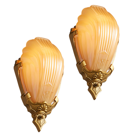Pair of Markel 2900 Gilt Slipper Shade Sconces  sc 1 st  Rejuvenation : wall sconces antique - www.canuckmediamonitor.org