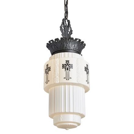 Bright Vintage Large Art Deco Hanging Ceiling Light All Original Milk Glass Shade Periods & Styles