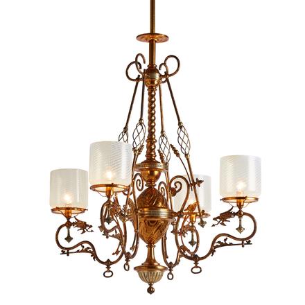 Decorative chandeliers rejuvenation exceptional 4 light gasolier w welsh dragon motif original copper aloadofball Image collections