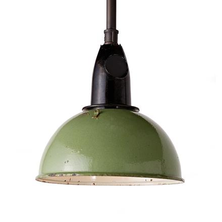 Petite industrial mint green enamel factory pendant