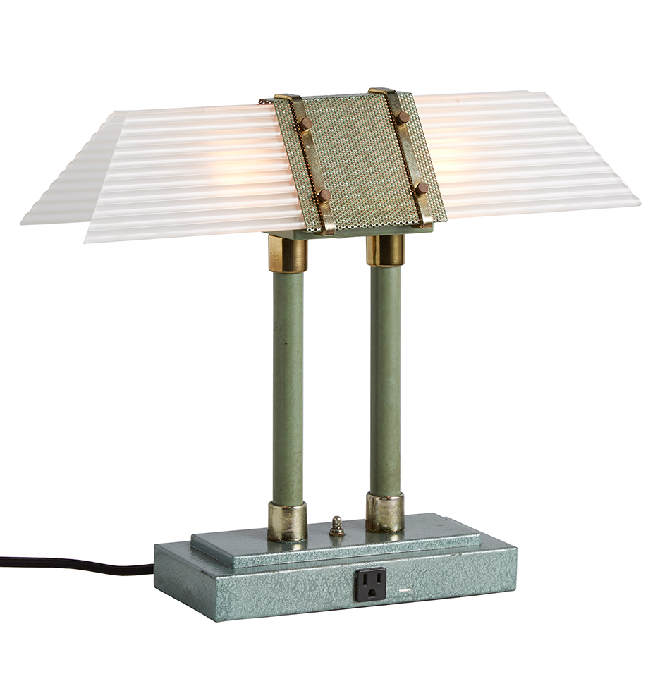Art Deco Style Library Lamp W Etched Corrugated Glass Rejuvenation
