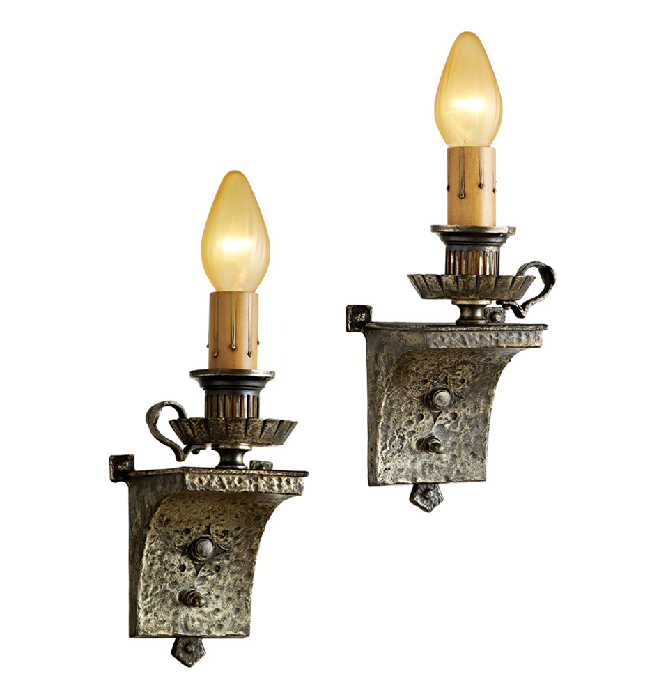 pair of romance revival candle sconces w worn silver plated finish