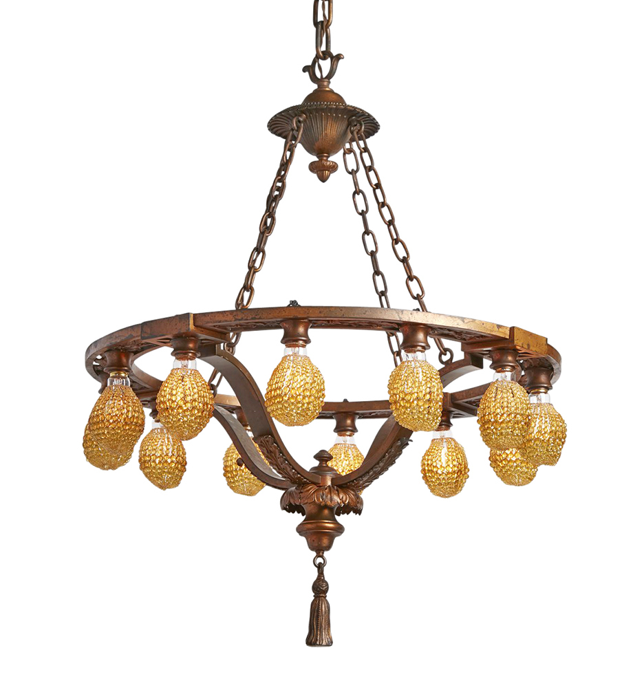 Cast bronze classical revival 12 light chandelier w beaded bulb r7599 wk29 170818 002 1 r7599 aloadofball Image collections