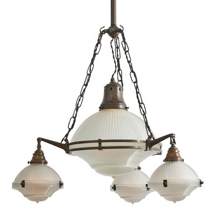 4 light fixture battery operated 4light english industrial holophane chandelier antique chandeliers vintage rejuvenation
