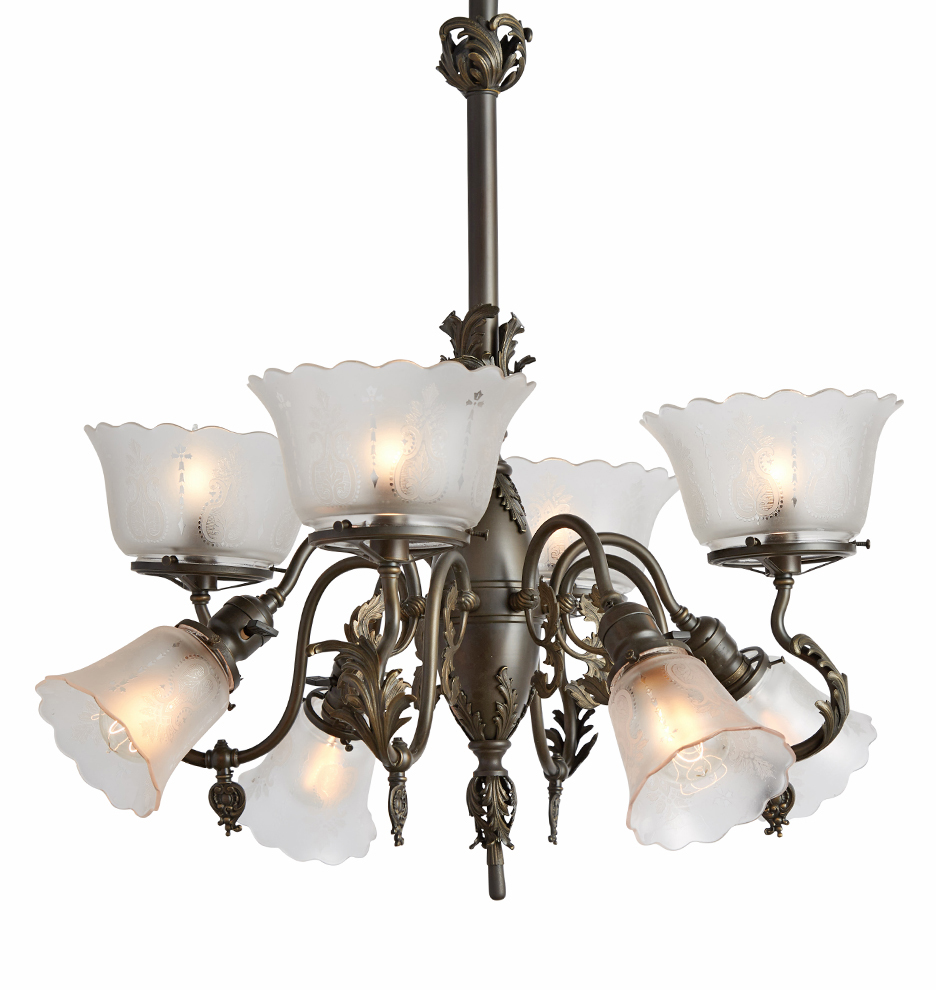 Electric Chandelier Rococo gaselectric chandelier w etched shades rejuvenation r8548 170427 01 audiocablefo