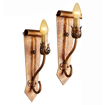 pair of romance revival sconces w scroll backplates