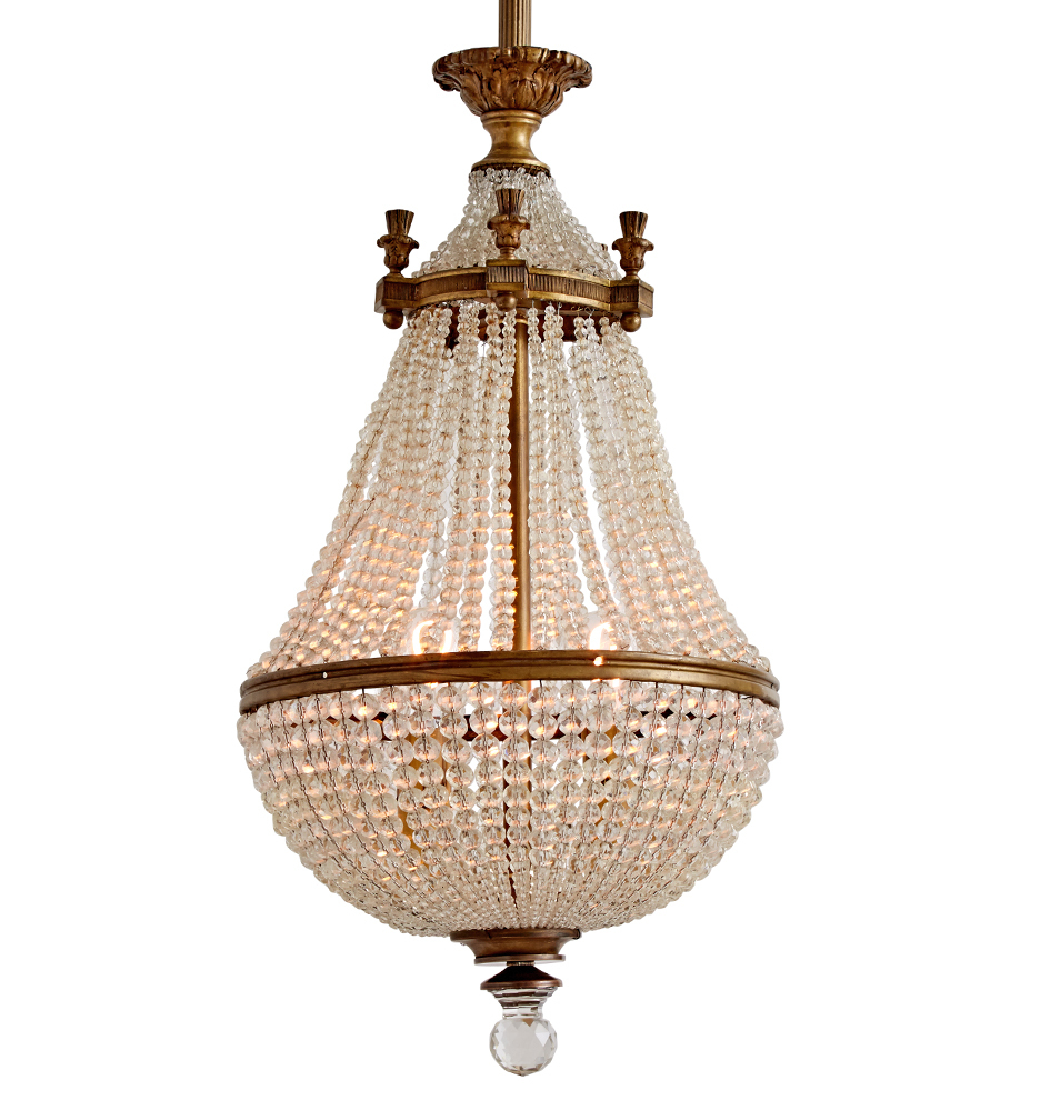 Classical Revival Crystal Basket Chandelier W Faceted Finial