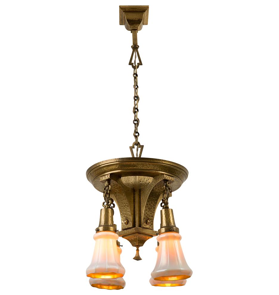 Stunning brass arts crafts chandelier w art glass shades r9693a r9693 r9693b r9693 arubaitofo Choice Image