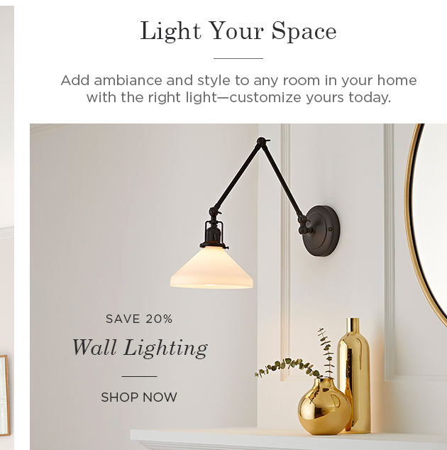 Save 20% on Wall Lighting