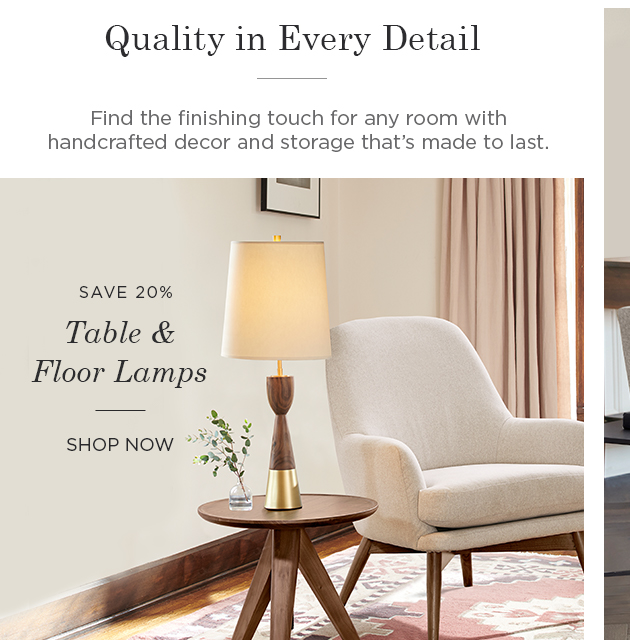 Save 20% on Table & Floor Lamps