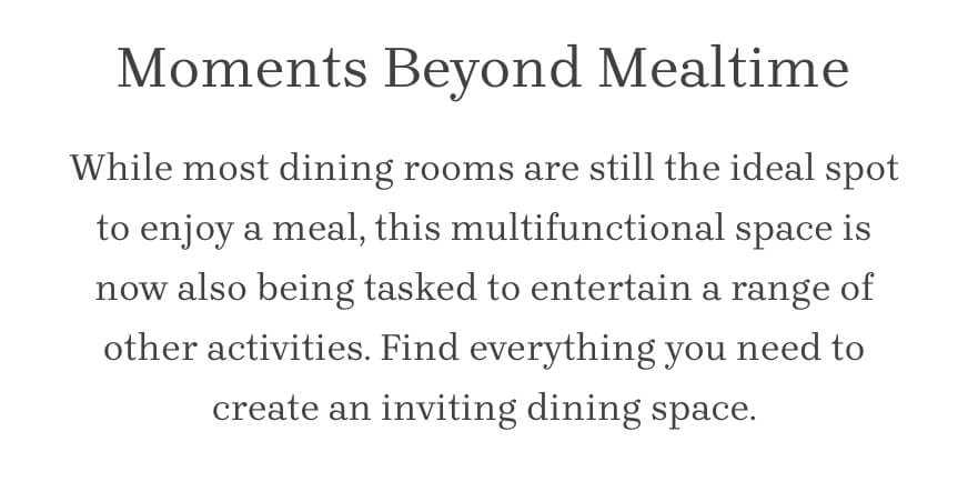 Moments Beyond Mealtime